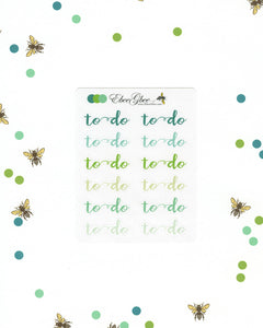 GREENS TO DO Planner Stickers |  BeeColorful Mint Lime Pine
