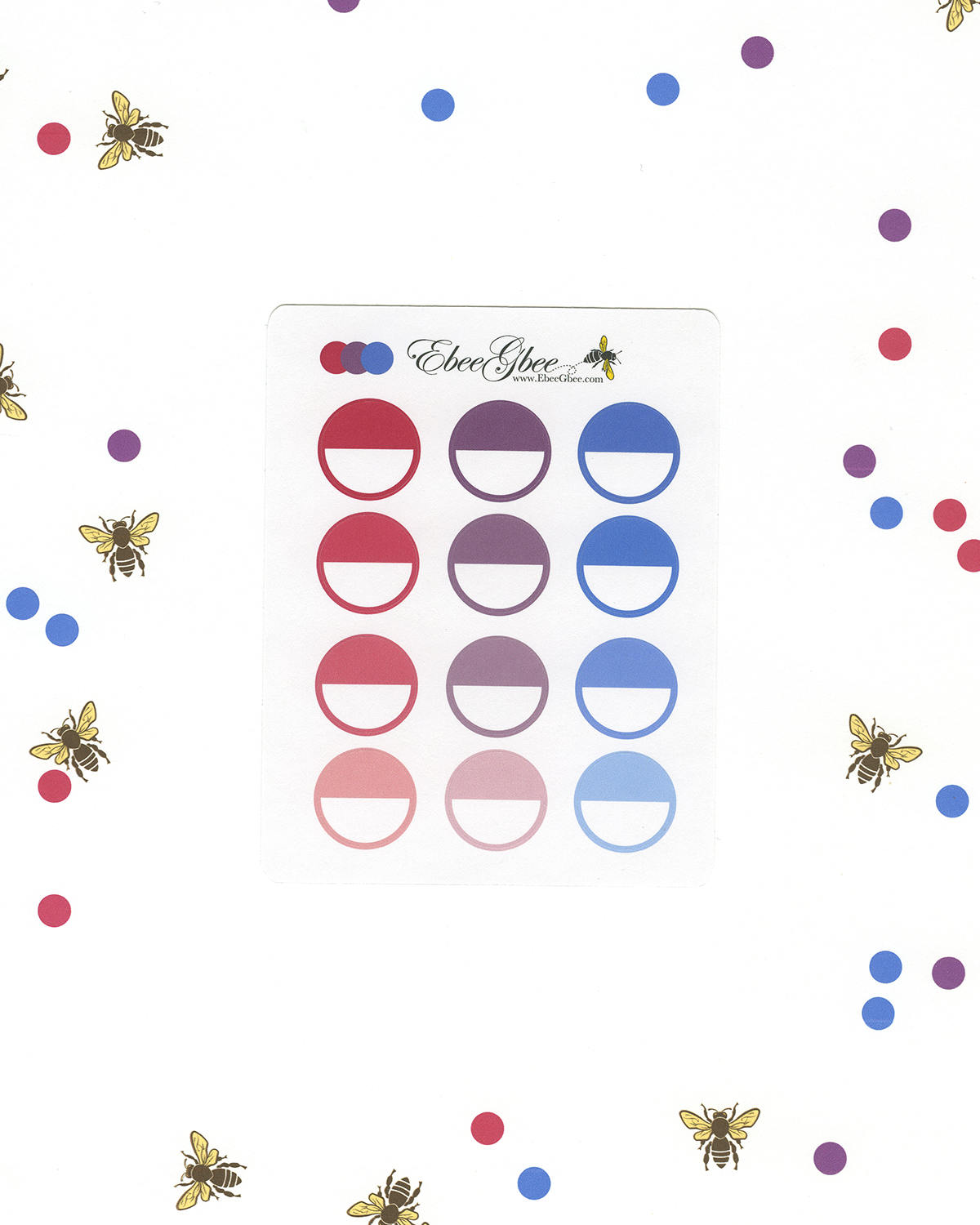 PURPLES & PINKS CIRCLE Planner Stickers |  BeeColorful Rose Plum Periwinkle