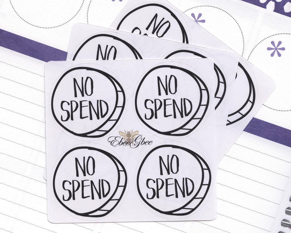 NO SPEND CIRCLE Hand Draw Note Page Planner Stickers