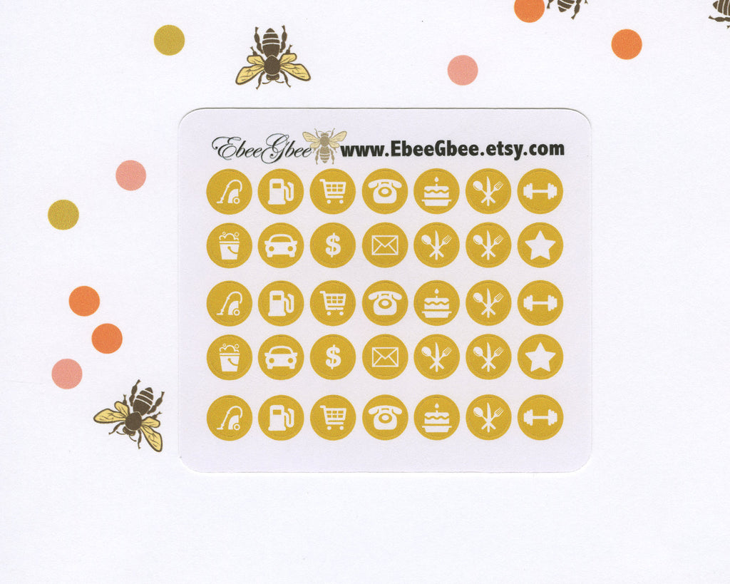 GOLD ICON DOTS Planner Stickers | BeeColorful