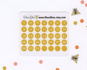 GOLD DATE DOT Monthly Planner Stickers | BeeColorful