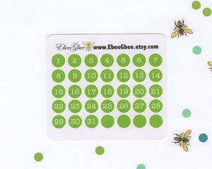 LIME DATE DOT Monthly Planner Stickers | BeeColorful