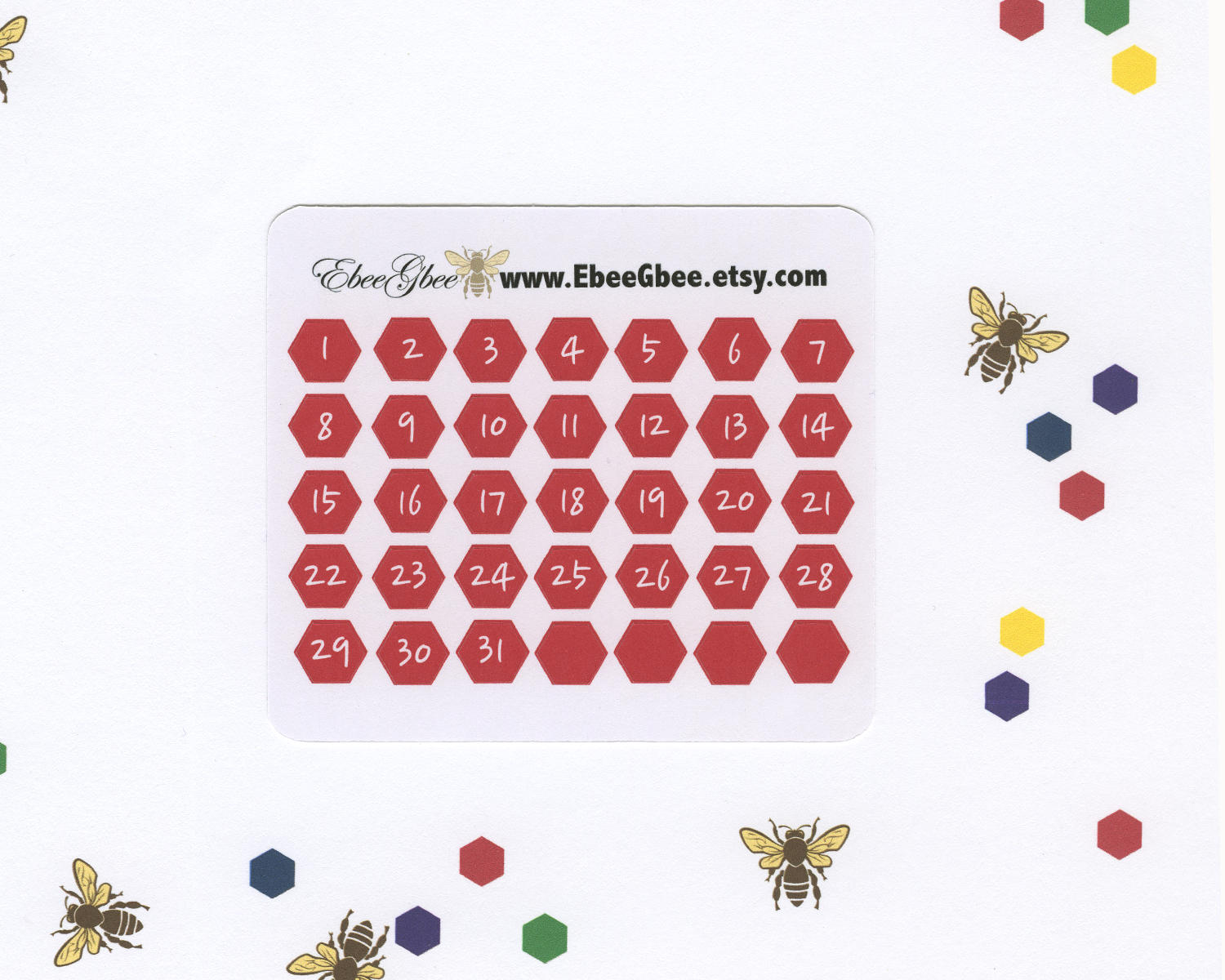 CHERRY DATE DOT  Hexagon Monthly Planner Stickers | BeeBright