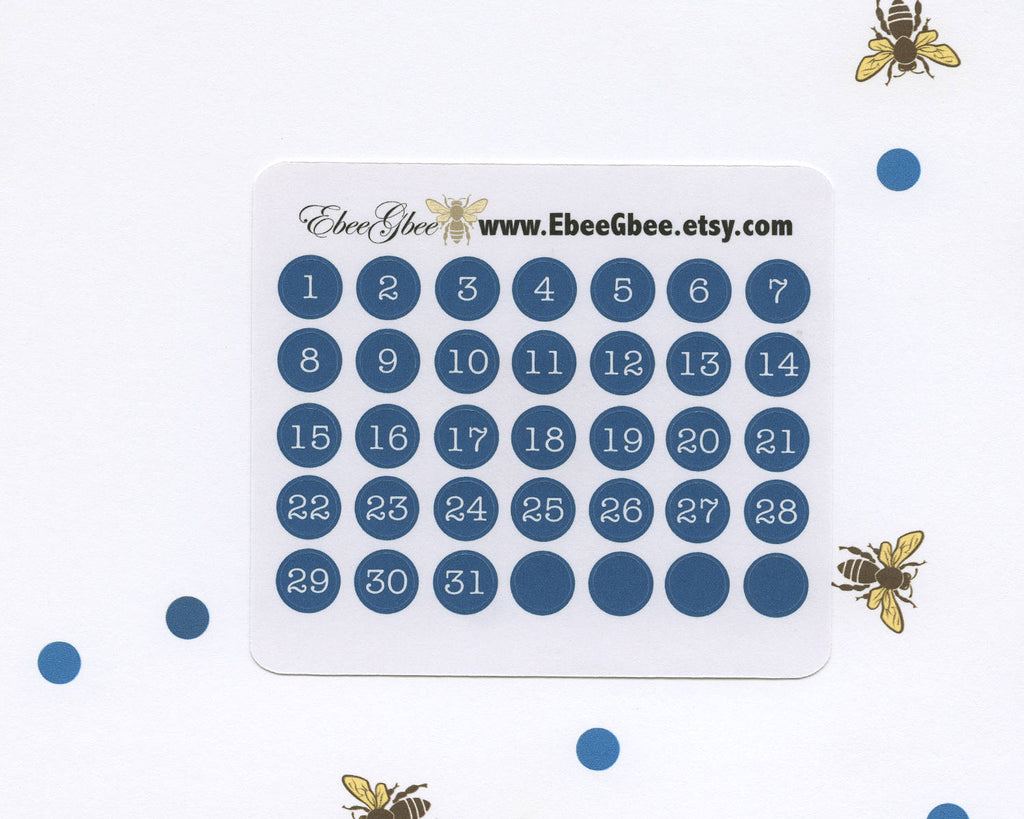 MIDNIGHT DATE DOT Monthly Planner Stickers | BeeColorful