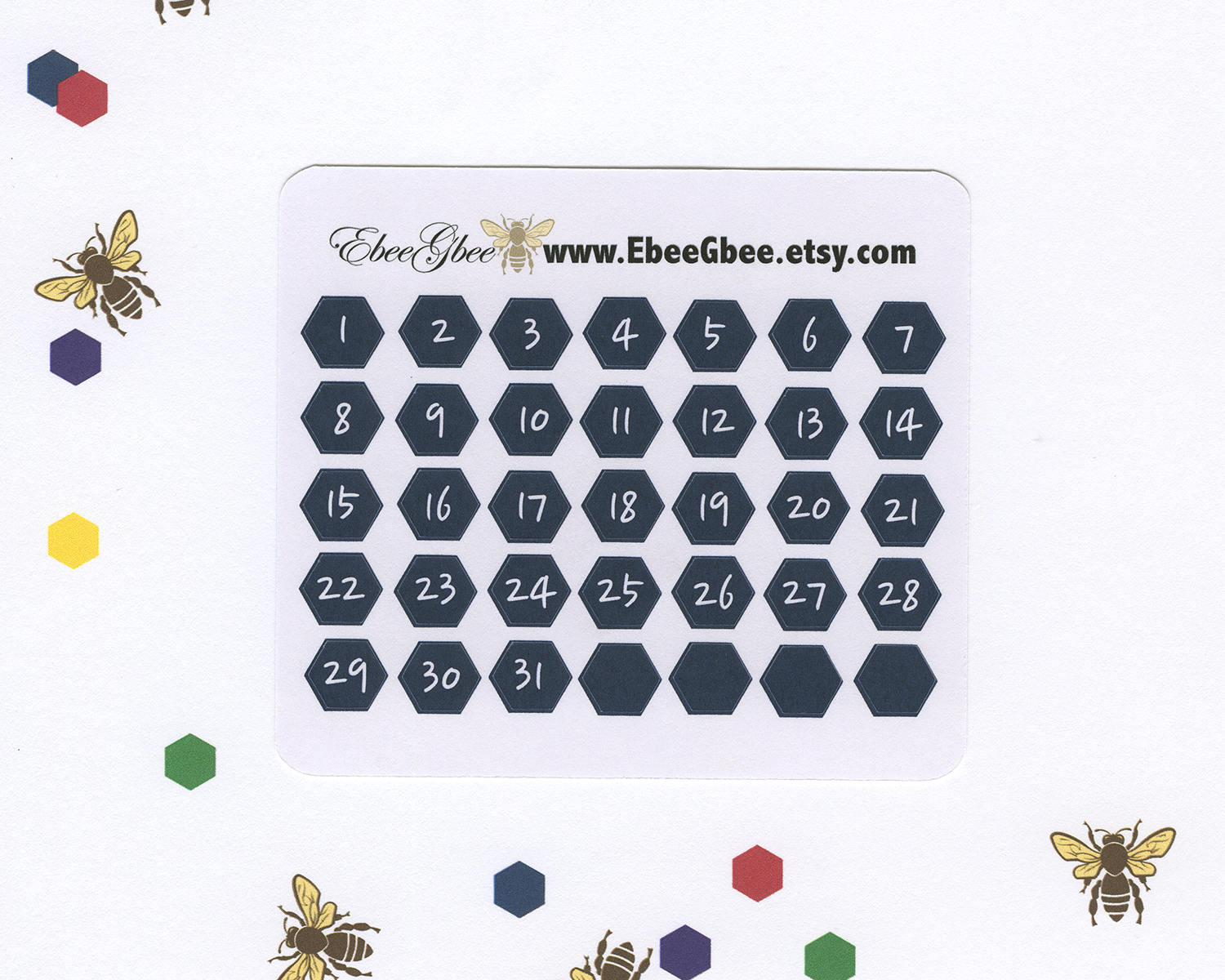 NAVY DATE DOT  Hexagon Monthly Planner Stickers | BeeBright