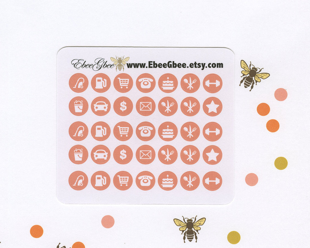 PEACH ICON DOTS Planner Stickers | BeeColorful