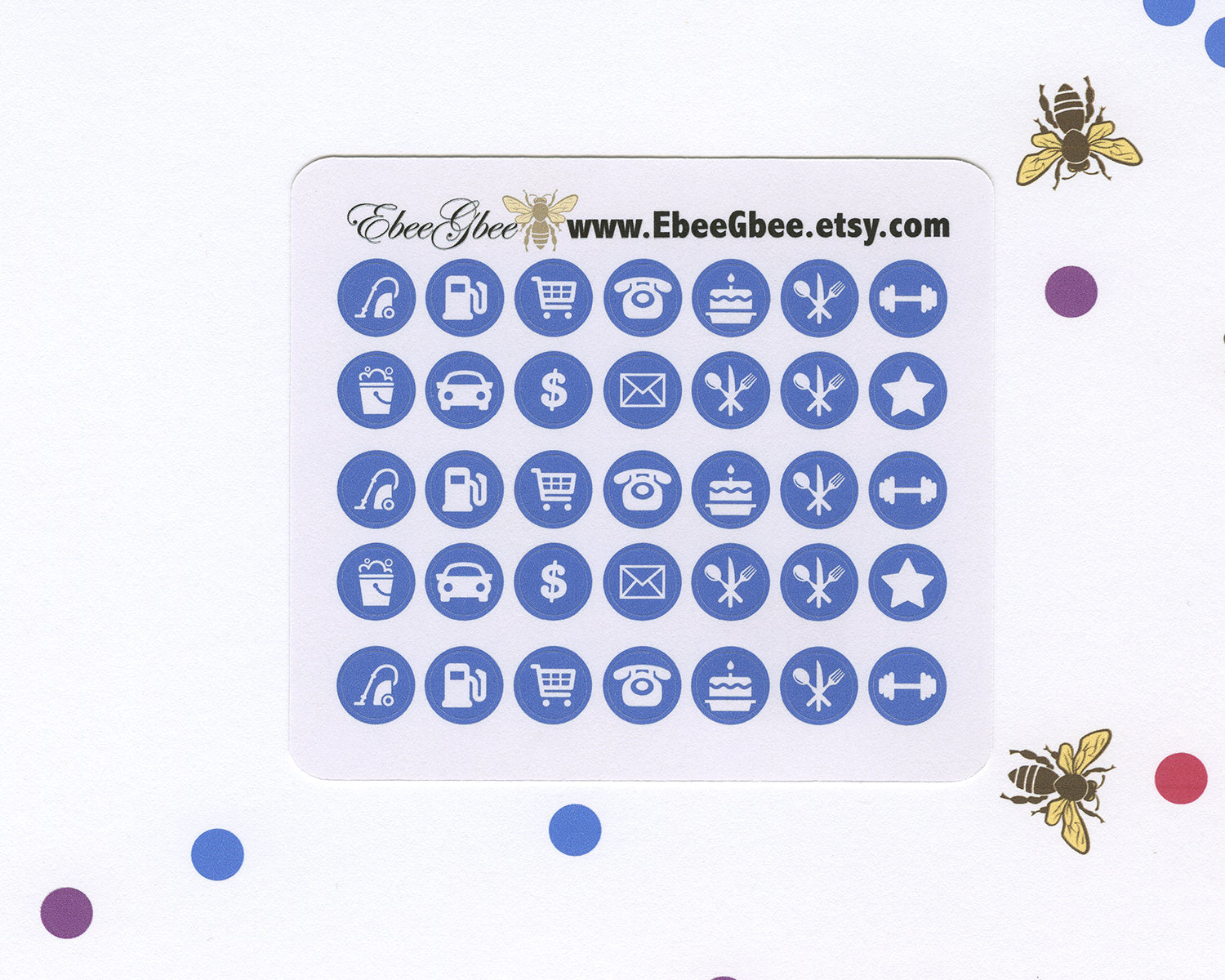 PERIWINKLE ICON DOTS Planner Stickers | BeeColorful