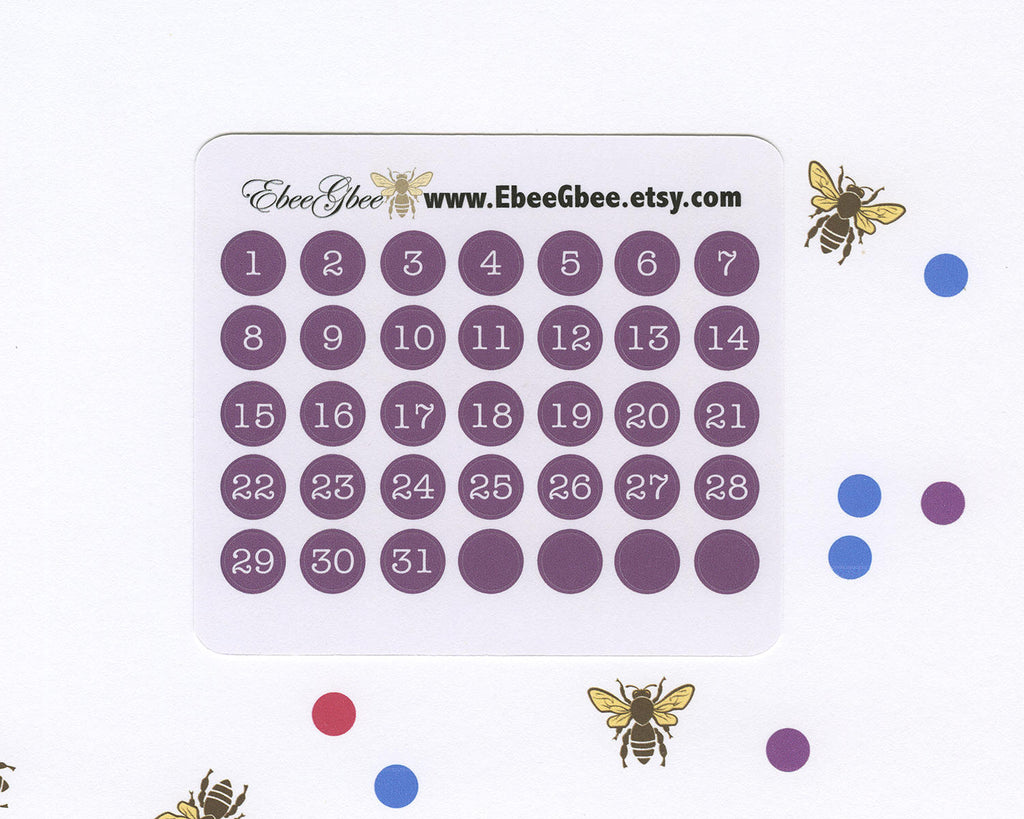 PLUM DATE DOT Monthly Planner Stickers | BeeColorful
