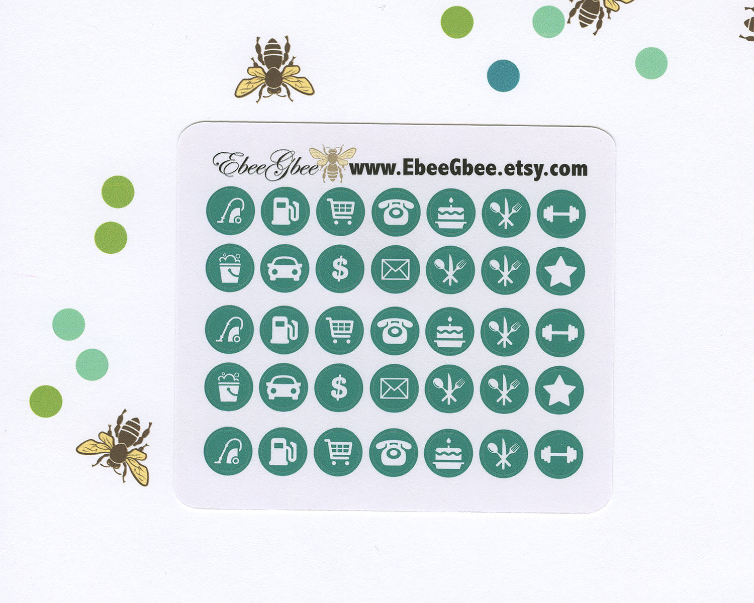 PINE ICON DOTS Planner Stickers | BeeColorful