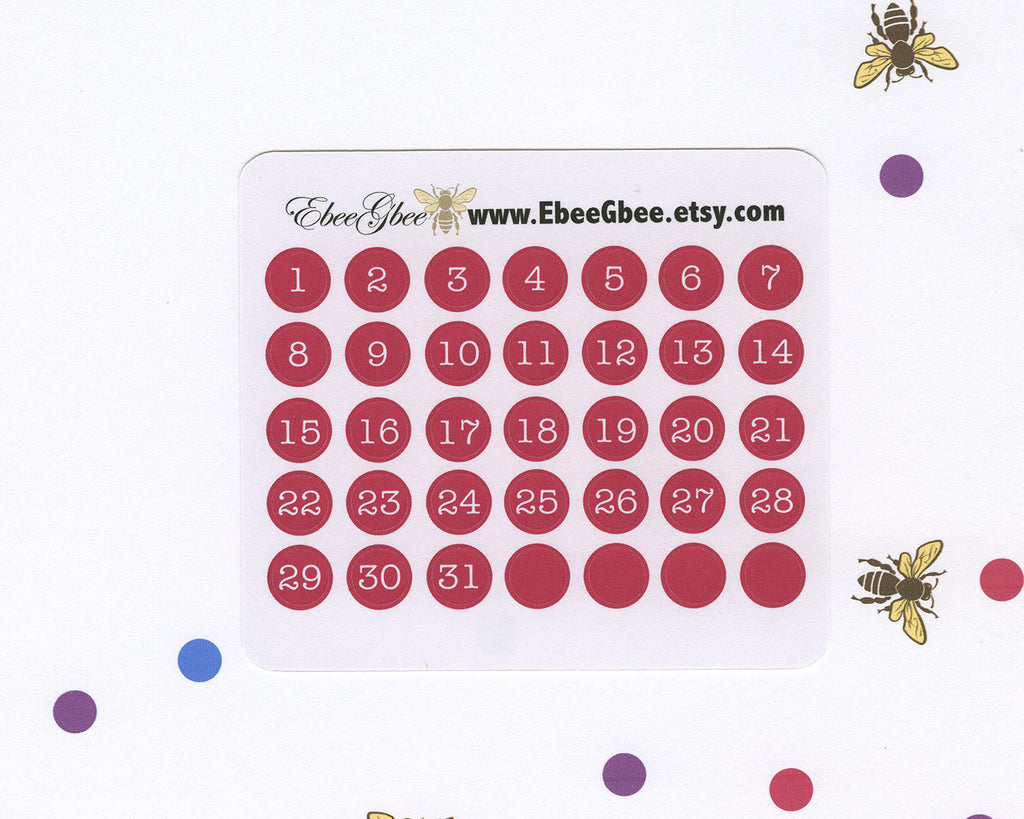 ROSE DATE DOT Monthly Planner Stickers | BeeColorful