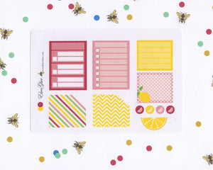 LEMONADE MONTHLY Layout Planner Stickers | You Pick Your Month | Rose Lemon