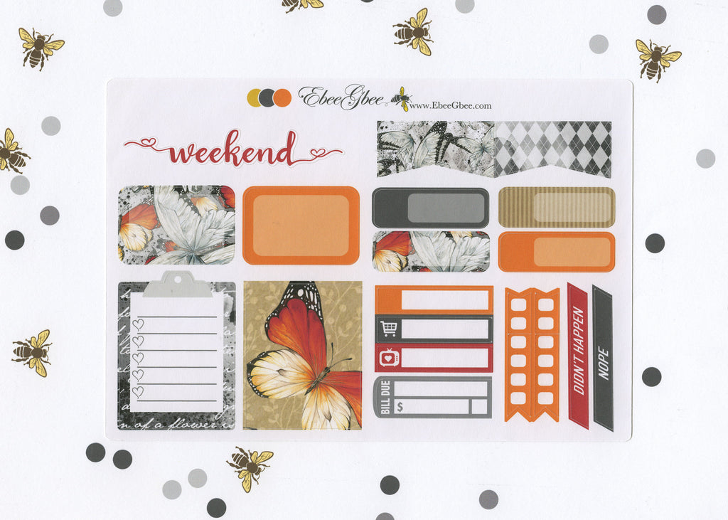 BUTTERFLY SAMPLER Weekly Planner Sticker Set | Sunset Storm Gold
