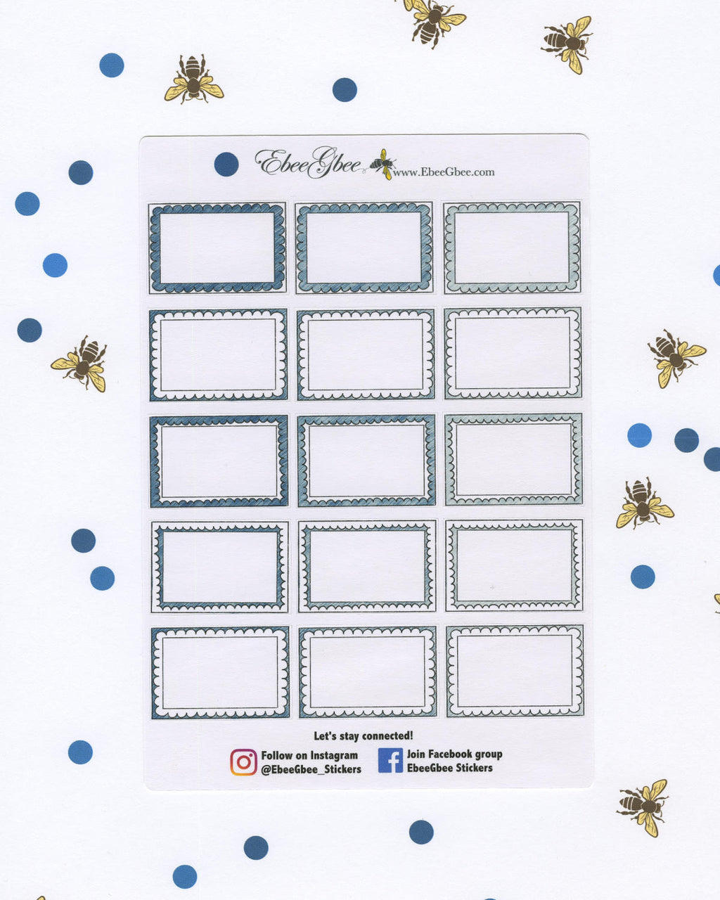 MIDNIGHT DOODLE BOXES Planner Stickers | BeeColorful