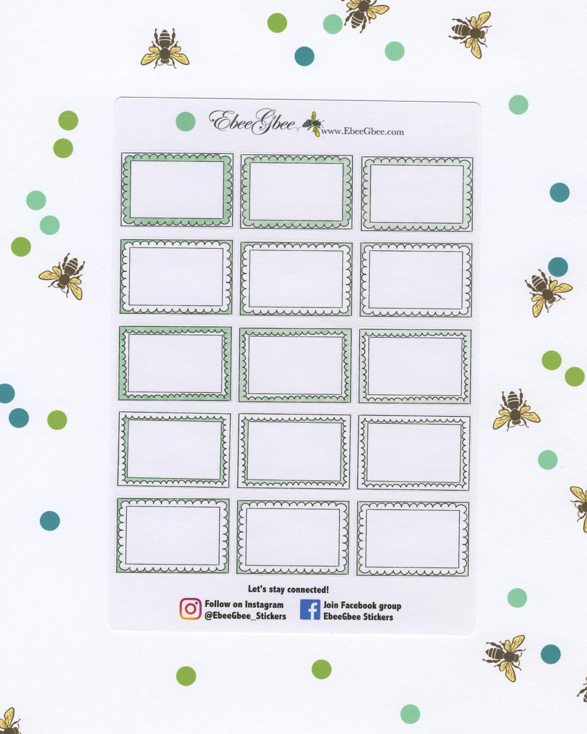 MINT DOODLE BOXES Planner Stickers | BeeColorful