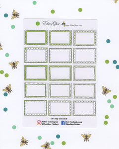 LIME DOODLE BOXES Planner Stickers | BeeColorful