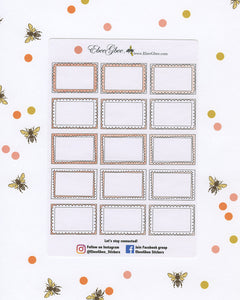 PEACH DOODLE BOXES Planner Stickers | BeeColorful