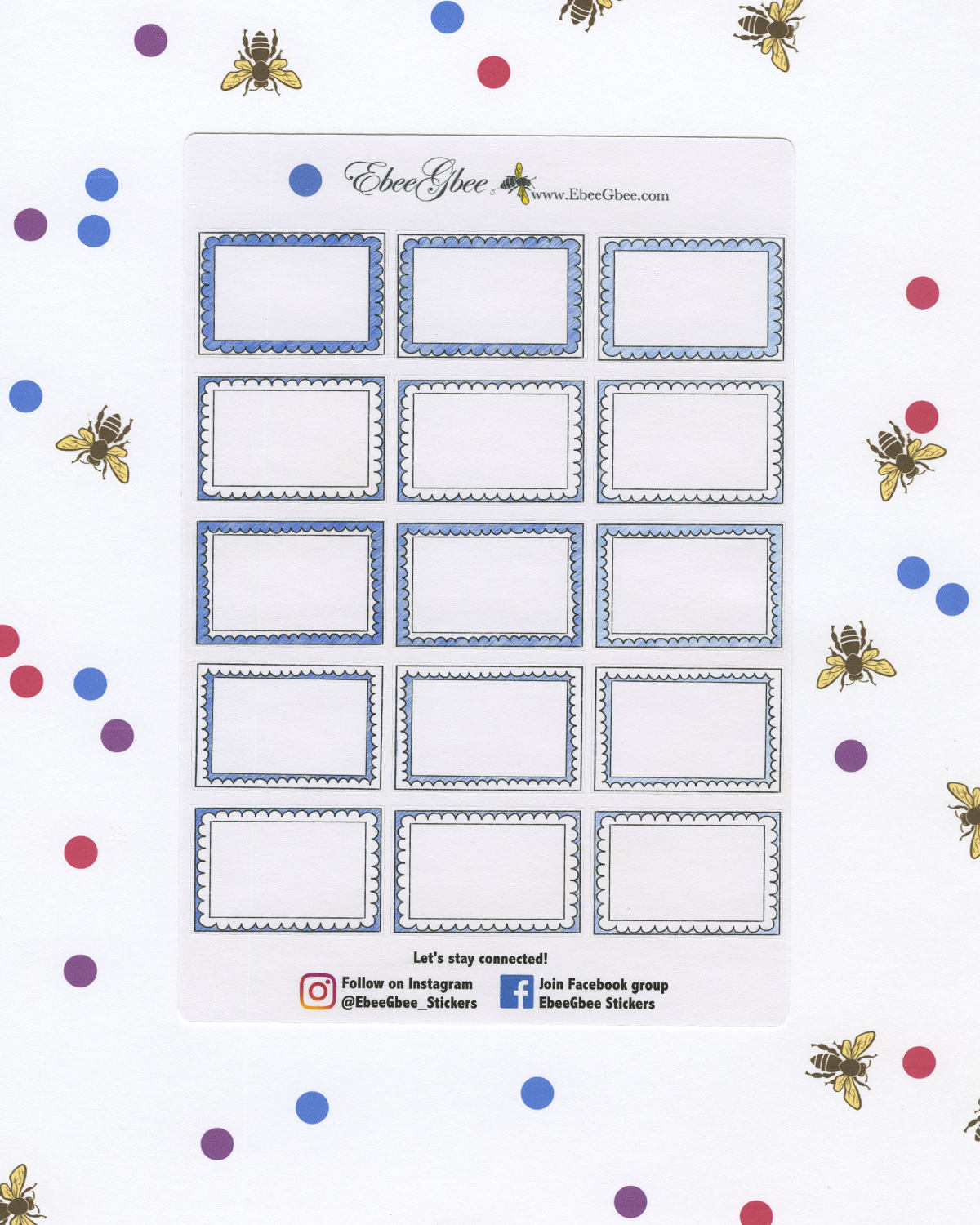 PERIWINKLE DOODLE BOXES Planner Stickers | BeeColorful