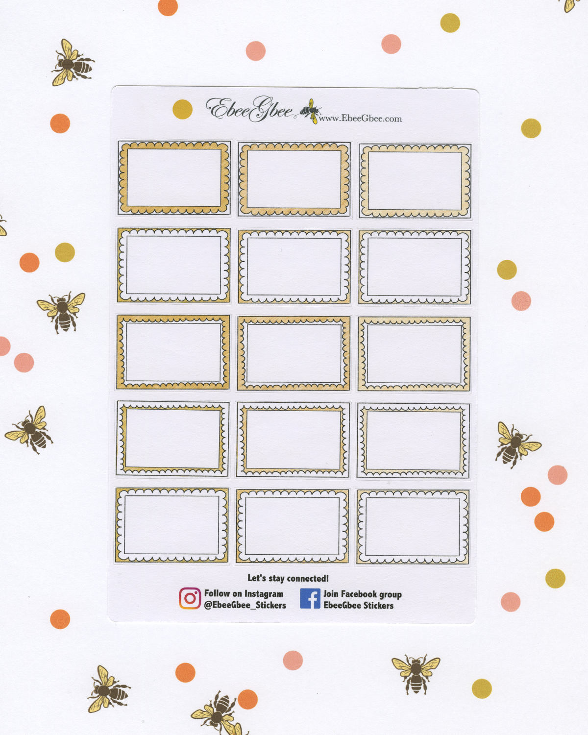 GOLD DOODLE BOXES Planner Stickers | BeeColorful