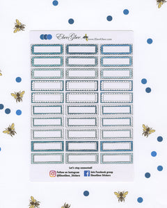 BLUES DOODLE BOXES Planner Stickers |  BeeColorful Teal Midnight Sky