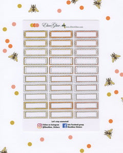 ORANGES DOODLE BOXES Planner Stickers |  BeeColorful Gold Senset Peach