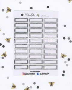 NEUTRAL DOODLE Boxes Planner Stickers |  BeeColorful Storm