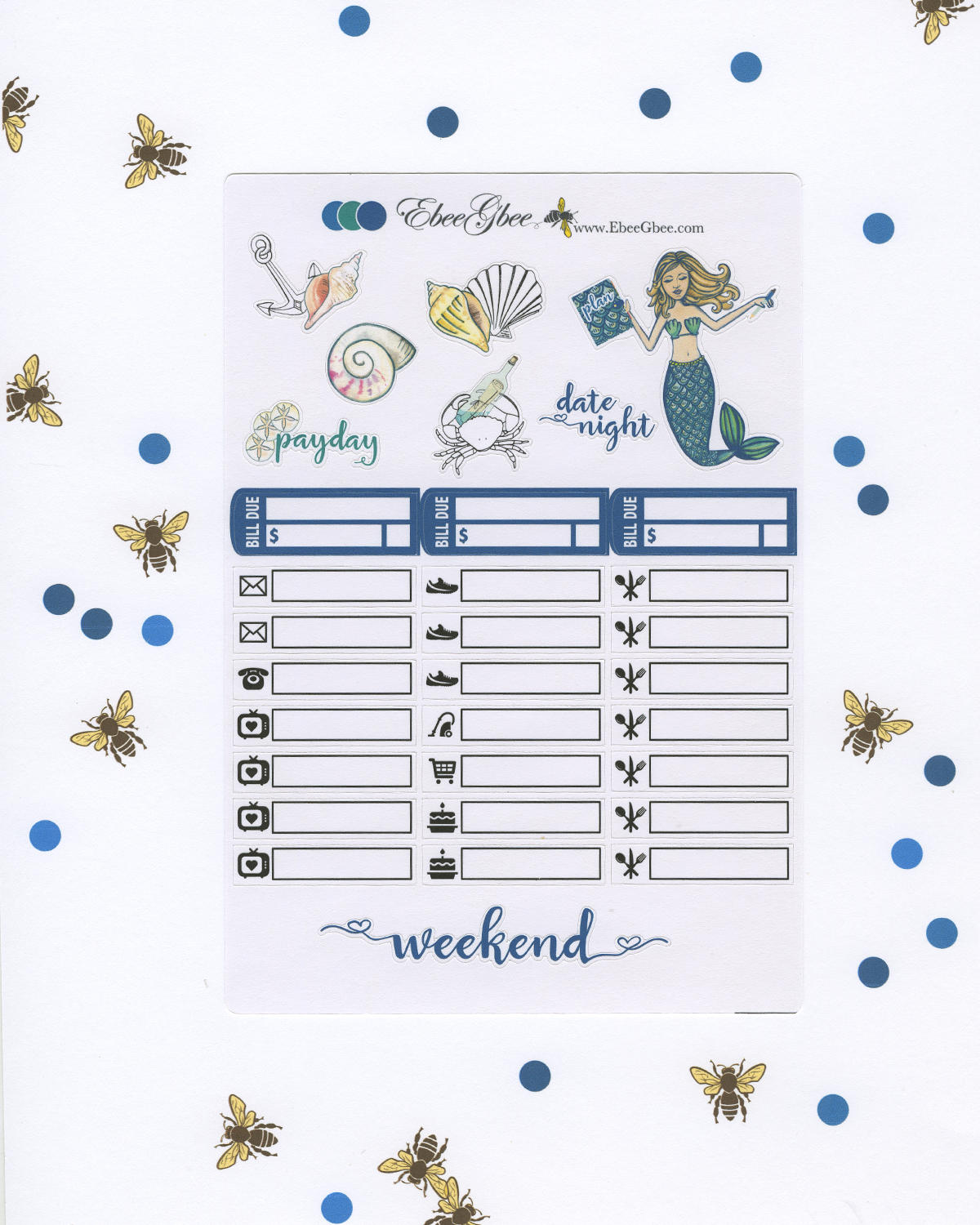 OCEAN MERMAID WEEKLY Planner Sticker Set | Teal Pine Midnight