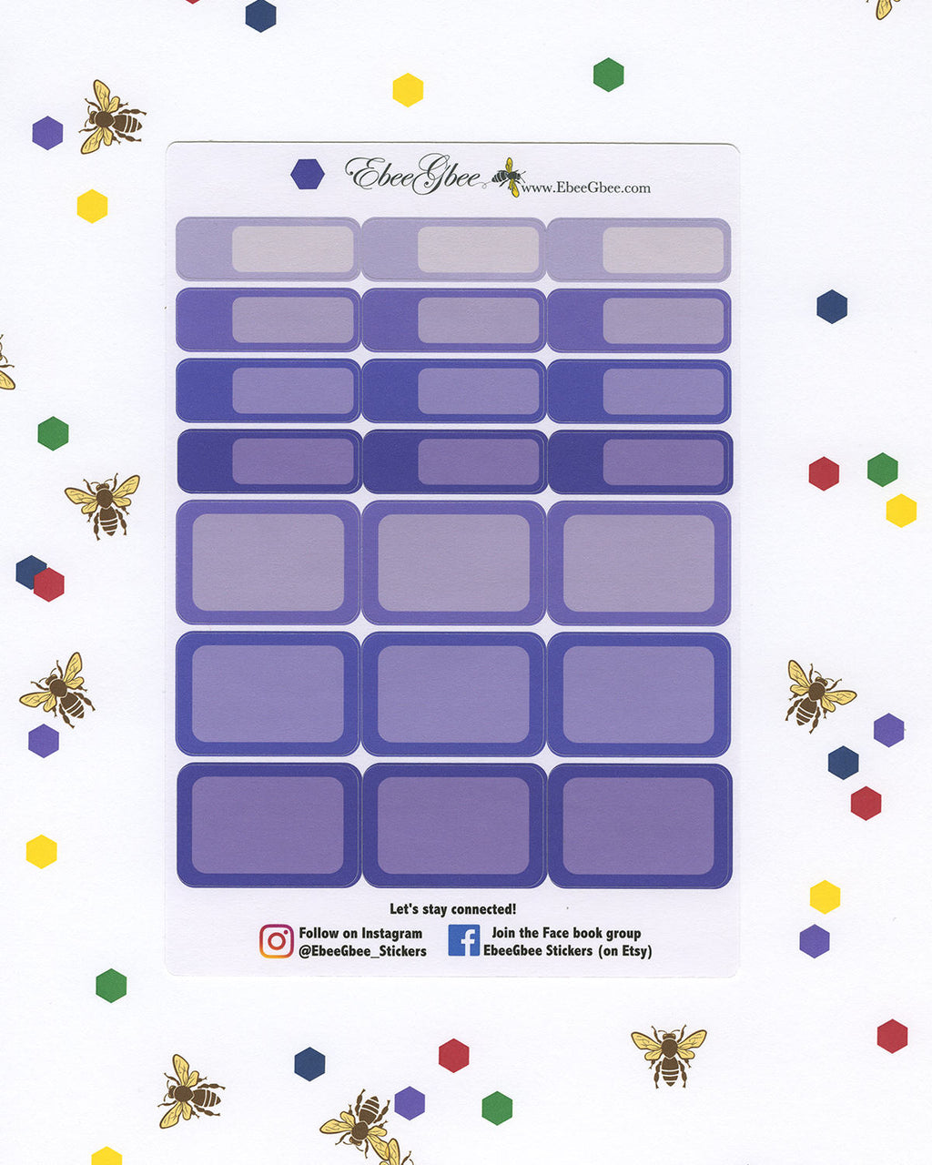 GRAPE COLORFUL BOXES Planner Stickers | BeeBright