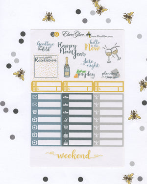 NEW YEARS DELUXE Weekly Planner Sticker Set | Storm Gold