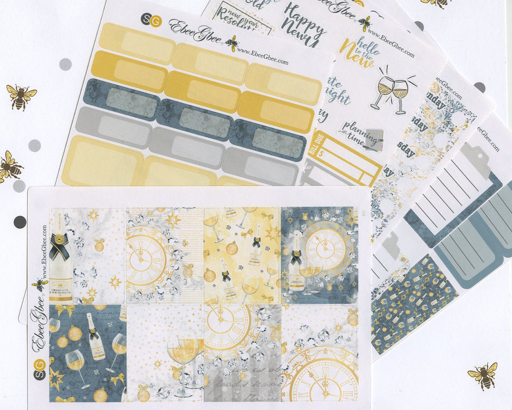 A LA CART New Years Eve Weekly Planner Sticker Sheets | Gold Storm