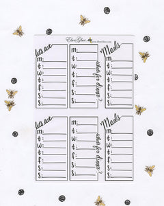 WEEKLY MENU BOXES | Hand Drawn Bullet Journal (BuJo) Style Planner Stickers