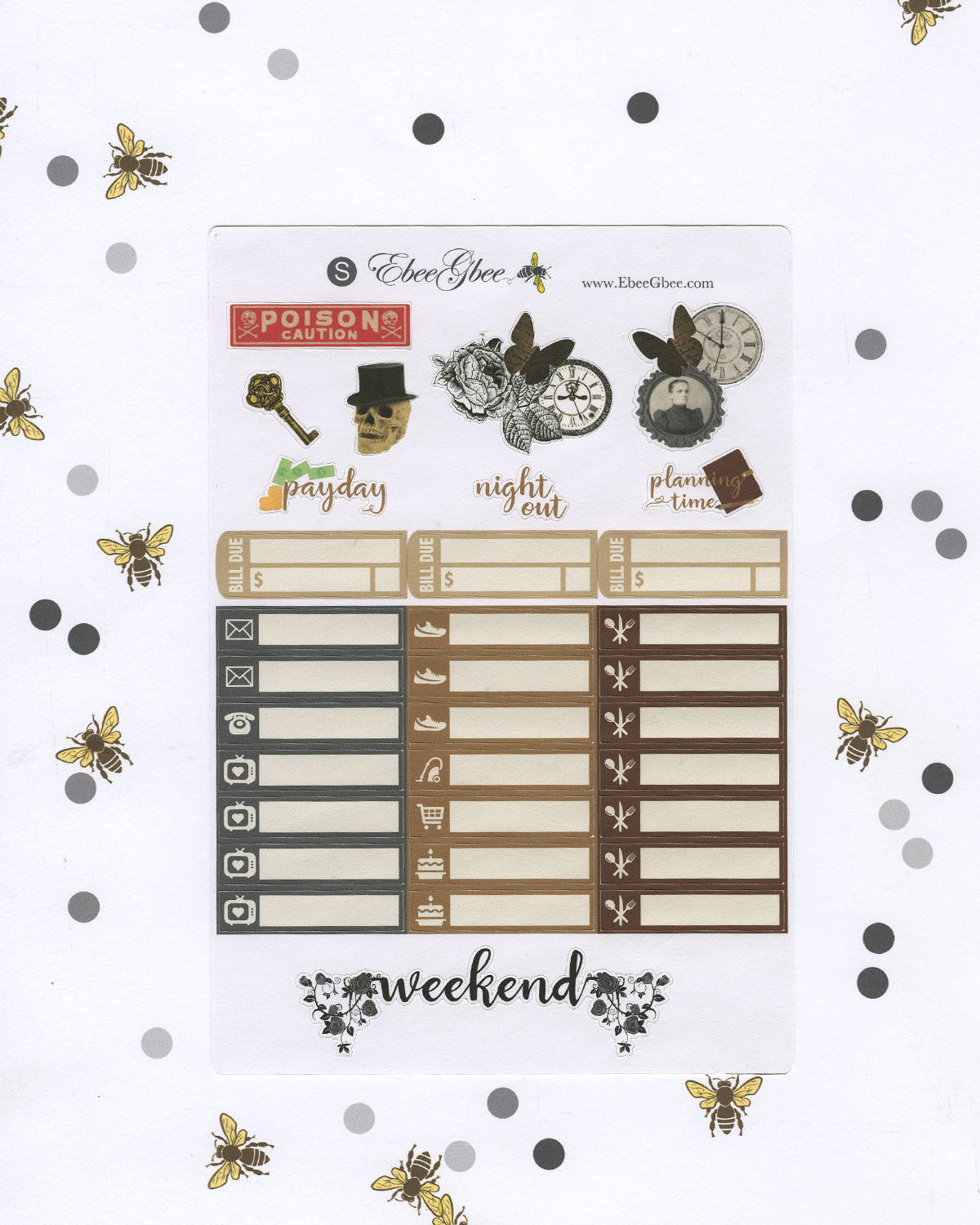 POE DELUXE Weekly Planner Sticker Set | BeeColorful Storm BeeMore Coffee