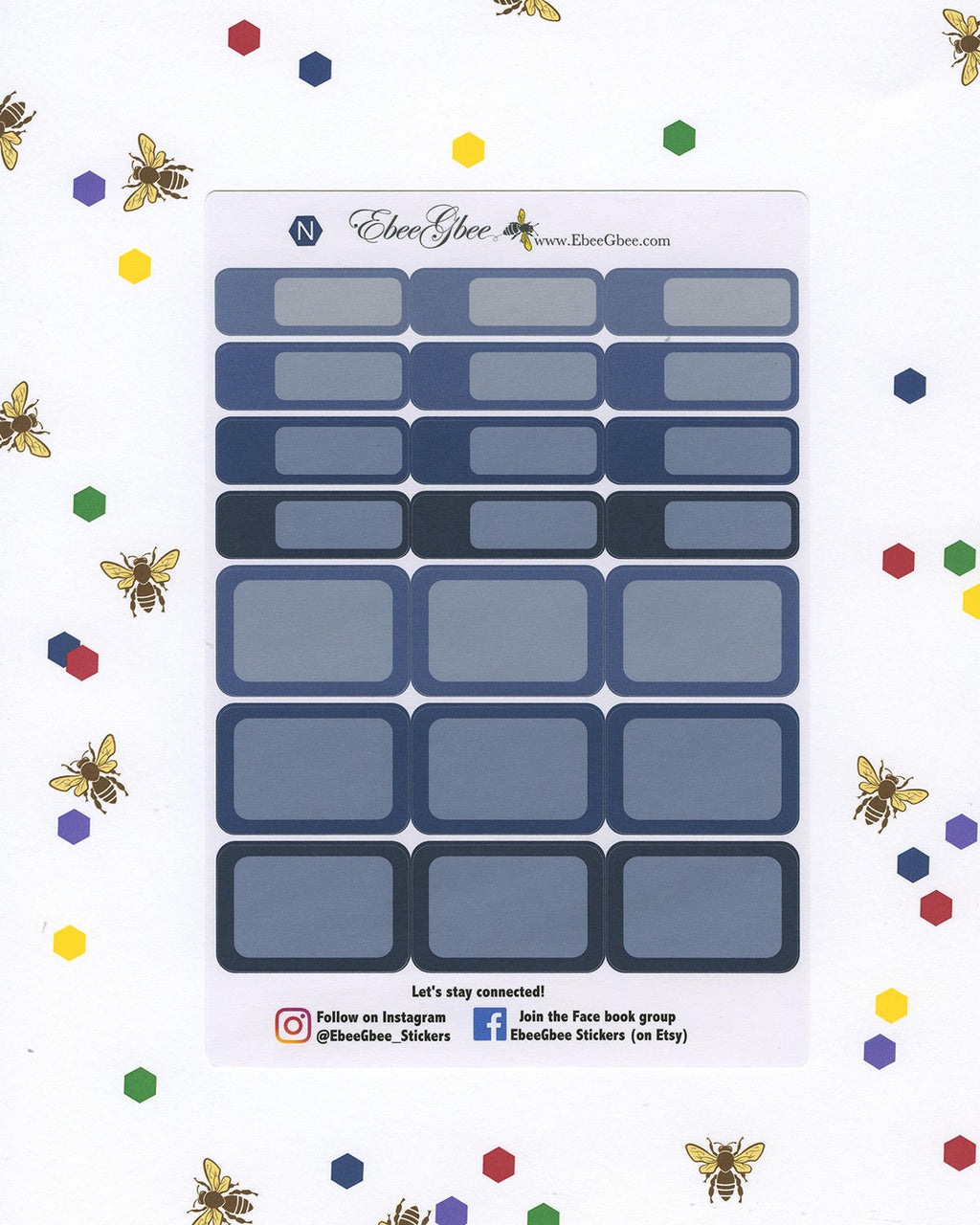 NAVY COLORFUL BOXES Planner Stickers | BeeBright