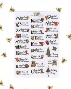 NOEL CHRISTMAS COUNTDOWN Planner Stickers | Cherry Mint