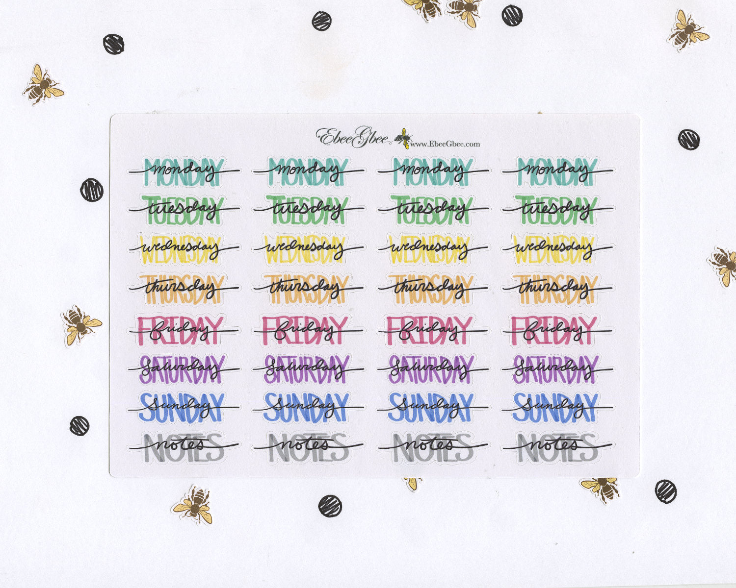 COLORFUL WEEKDAY HEADERS Planner Stickers | Hand Drawn BuJo Style