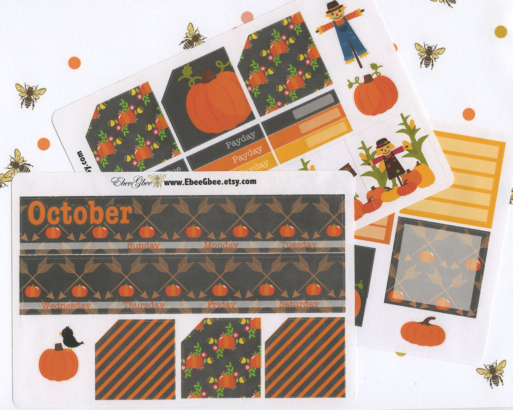 PUMPKIN MONTHLY Layout Planner Stickers | You Pick Your Month