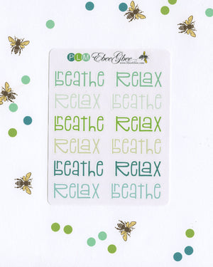 RELAX & BREATHE Planner Stickers |  BeeColorful