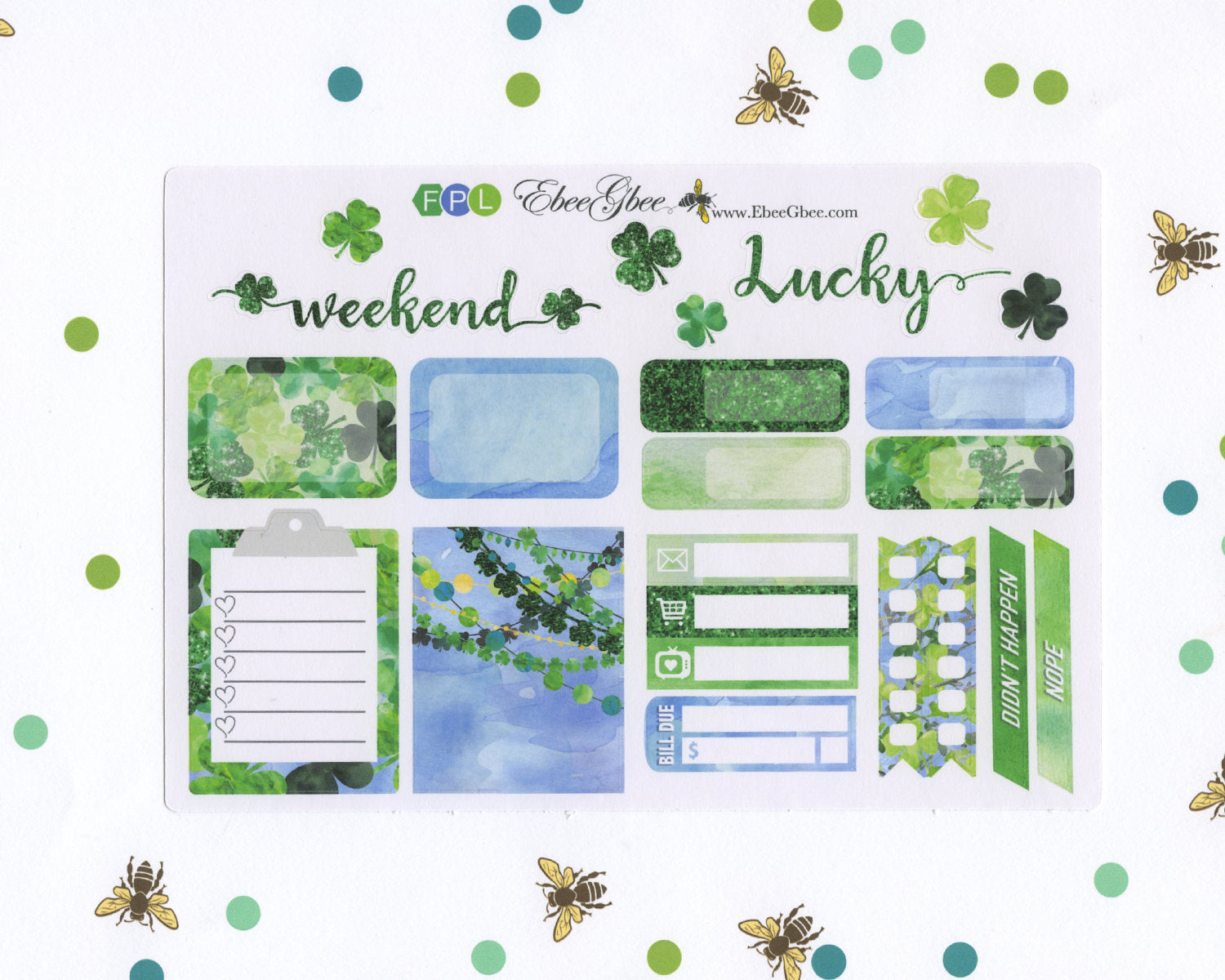 LUCKY WEEKLY SAMPLER Planner Sticker Set |BeeColorful Periwinkle Lime BeeBright Frog