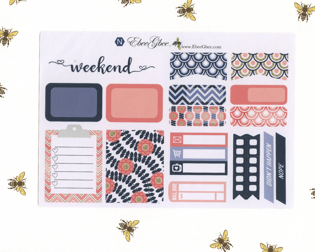 PINK & NAVY SAMPLER Weekly Planner Sticker Set | BeeBright Navy