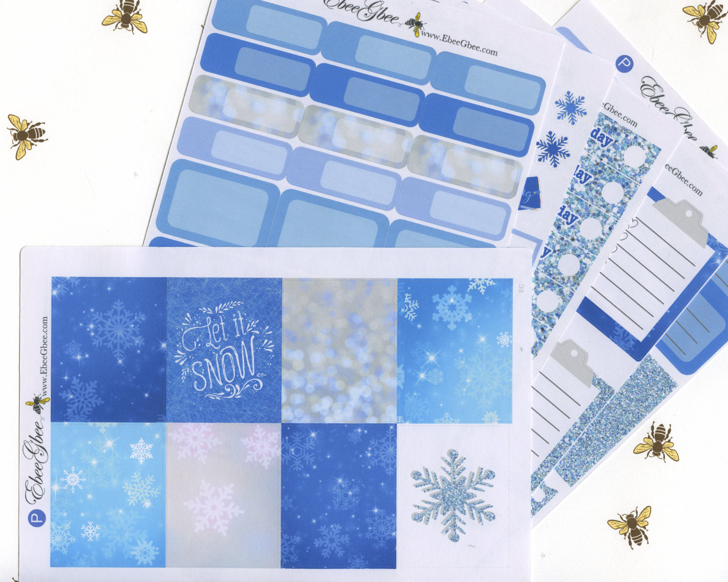 A LA CART Snow Day Weekly Planner Sticker Sheets | Periwinkle