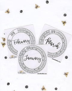 MONTHLY CALENDAR RINGS set of 3 Planner Stickers | BuJo Style