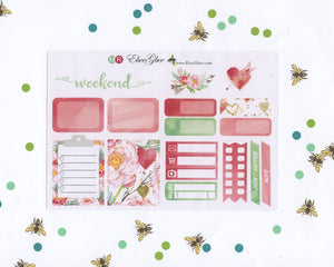 LOVE WEEKLY SAMPLER Planner Sticker Set | Hand Painted | Rose Mint