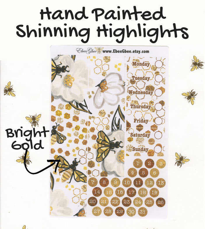 GOLDEN BEE DELUXE Weekly Planner Sticker Set | Gold Coffee | Hand Painted