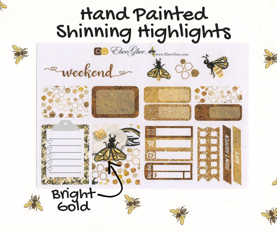GOLDEN BEE SAMPLER Weekly Planner Sticker Set | Gold Coffee | Hand Painted