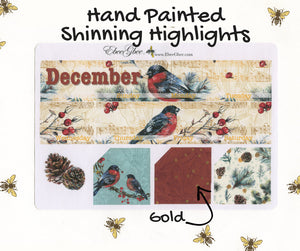GOLDEN BIRD MONTHLY Layout Planner Stickers | You Pick Your Month | Hand Painted