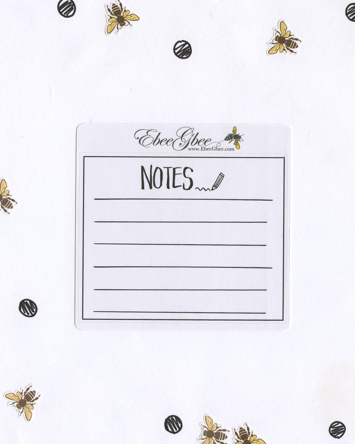 NOTES SINGLE BOX set of 3 Hand Drawn Large Box Note Page Planner Stickers
