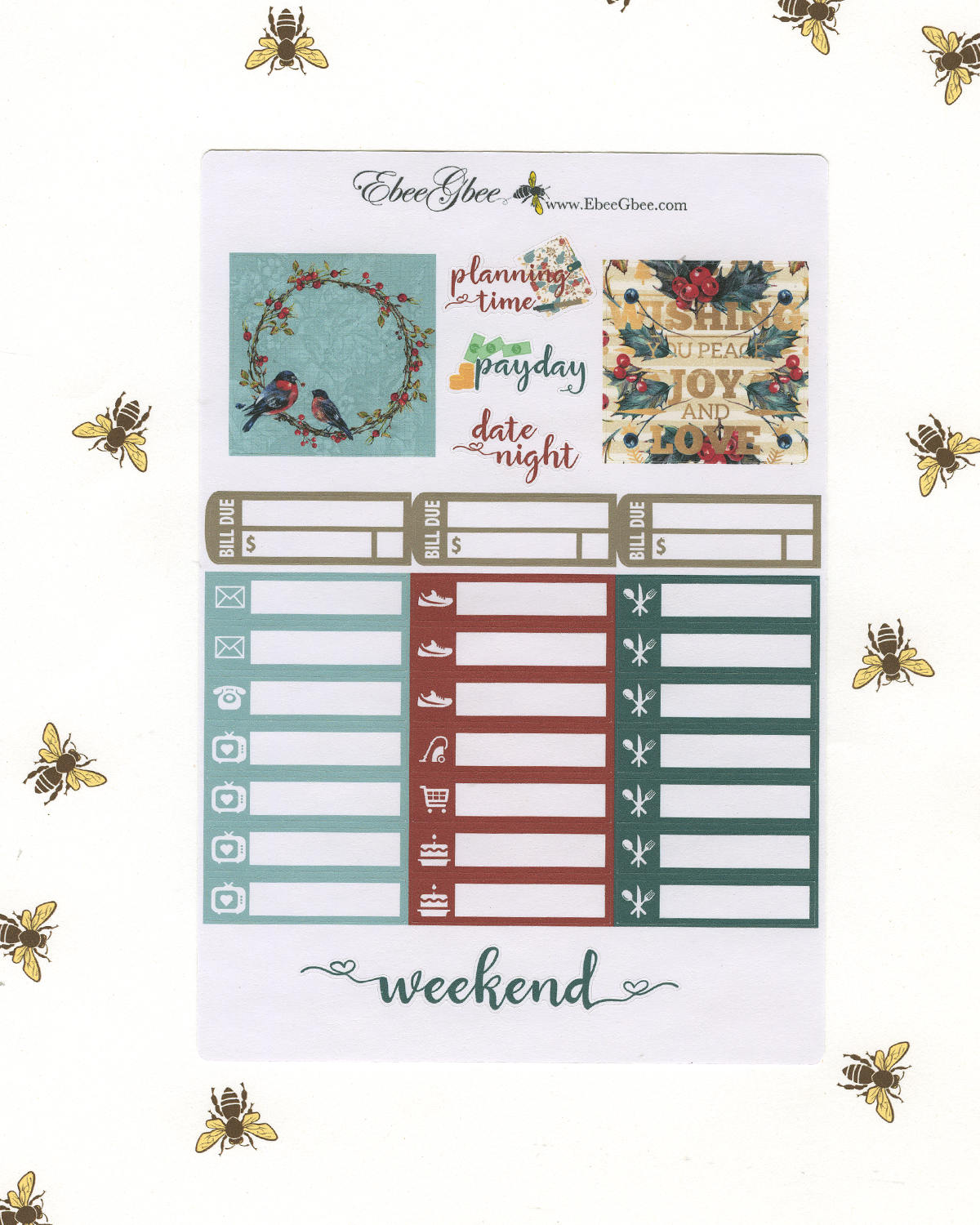 GOLDEN BIRD CHRISTMAS Weekly Planner Sticker Set |  Limited Edition Hand Painted Golden Shimmer Accents