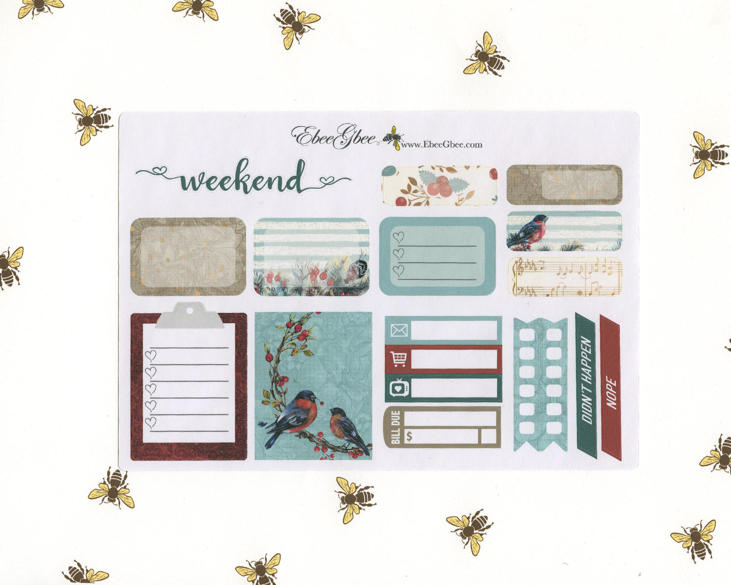GOLDEN BIRD SAMPLER Weekly Planner Sticker Set | Limited Edition Hand Painted Golden Shimmer Accents