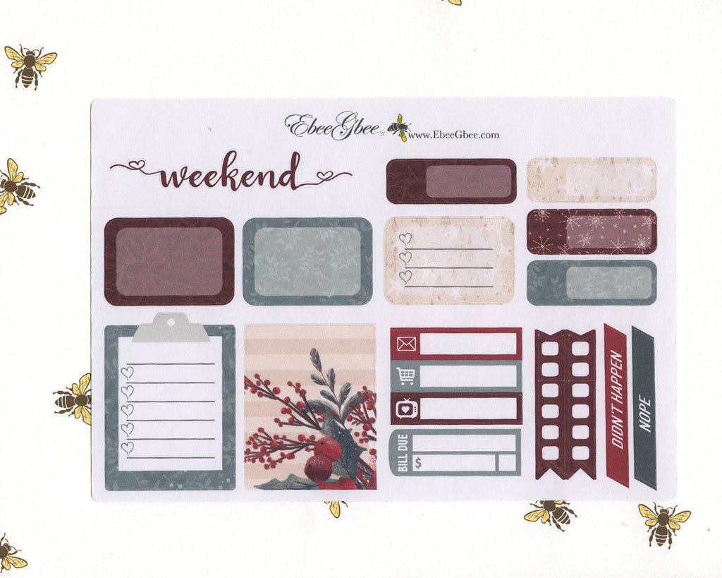 FROSTED CRANBERRY SAMPLER Weekly Planner Sticker Set | Limited Edition Hand Painted Frosted Shimmer Accents