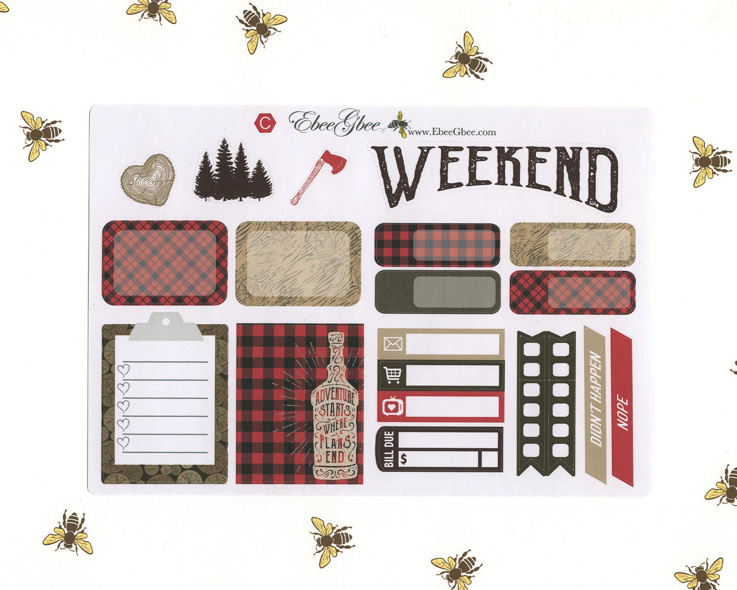 LUMBERJACK SAMPLER Weekly Planner Sticker Set |  Cherry Coffee