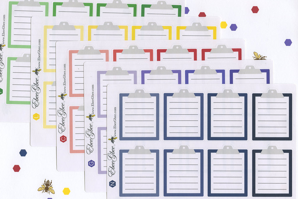 CLIPBOARD Planner Stickers | BeeBright - Available in 5 Colors